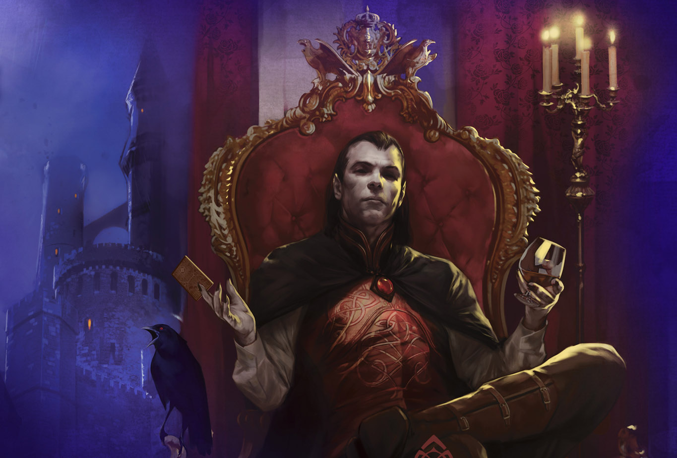 Strahd sits on a throne. He holds wine in one hand and a tarokka card in the other.